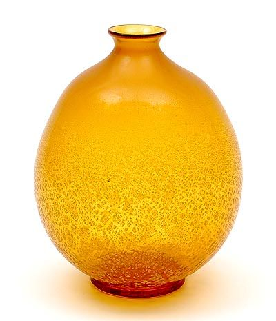 Found on www.botterweg.com - Amber glass Serica vase no.6 with crackle design A.D.Copier 1928 executed by Glasfabriek Leerdam / the Netherlands