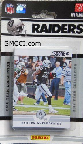 2012 Score Oakland Raiders Factory Sealed 12 Card Team Set Including Carson Palmer, Darren McFadden, Rolando McClain, Michael Huff, Louis Murphy, Jacoby Ford, Denarius Moore, Terrelle Pryor, Darrius Heyward-Bey, Aaron Curry, Tyvon Branch and Juron Criner. by 2012 Score. $9.99. 2012 Score Oakland Raiders Factory Sealed 12 Card Team Set Including Carson Palmer, Darren McFadden, Rolando McClain, Michael Huff, Louis Murphy, Jacoby Ford, Denarius Moore, Terrelle Pryor...