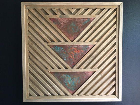 Art bois rustique, Art bois Bohème, Turquoise Art, Art bois géométrique, Art mural en bois