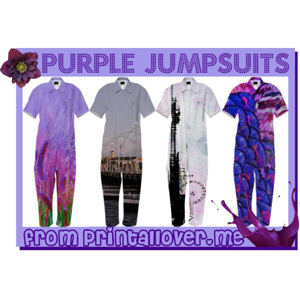 Purple Jumpsuits from Printallover.me #fashiontrend by stine1online on Polyvore featuring Mode, purple, jumpsuit, fashiontrend, printalloverme and purplejumpsuit