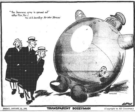 """Caricature de David Low paru dans le Evening Standard le 31 janvier 1941 : """"Croque-mitaine transparent"""""""