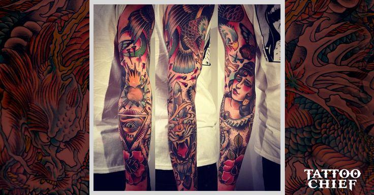 Daring traditional tattoo (2) - traditional sleeve tattoo on ...