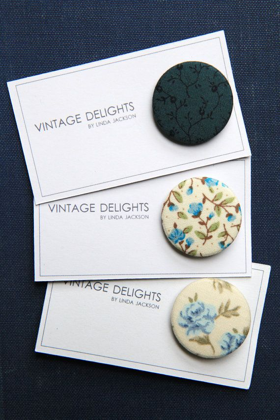 Blue Floral Fabric Badges by VintageDelightsShop on Etsy