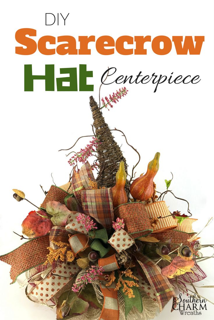 DIY Fall Scarecrow Hat Centerpiece using grapevine wreath, deco mesh, ribbon and silk flowers by Southern Charm Wreaths.
