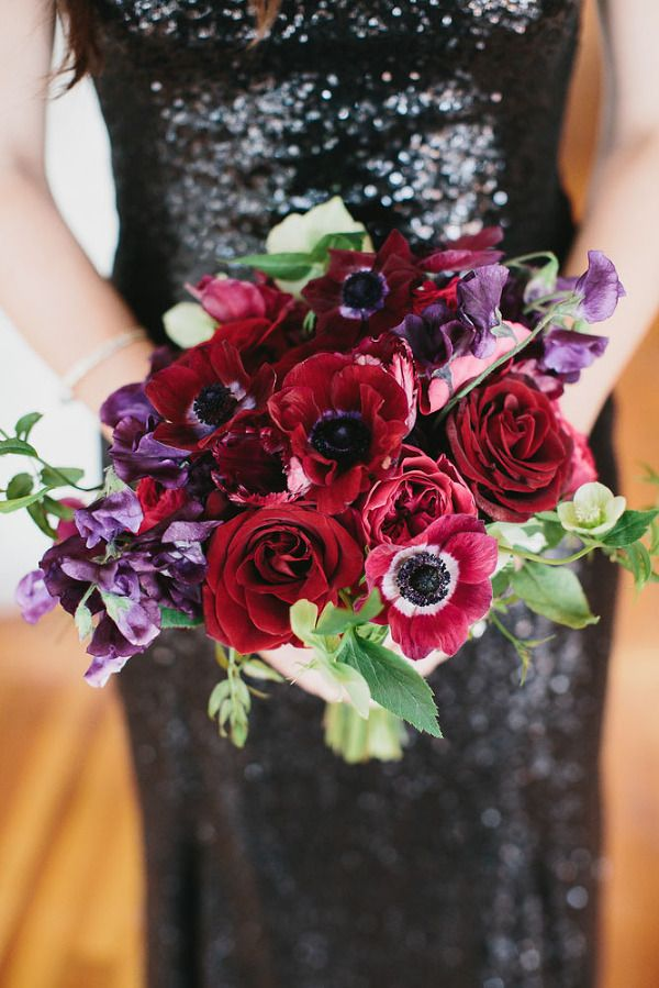 Moody Glam Winter Wedding In Burgundy Blush And Black