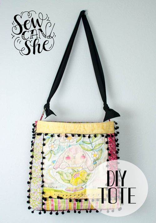 Quilt As You Go (QAYG) Tote with Pom Poms - easy sewing tutorial — SewCanShe | Free Daily Sewing Tutorials