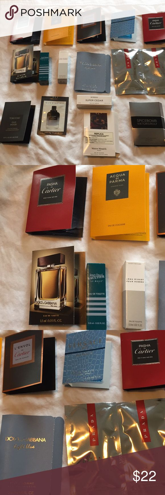 Prestige men's cologne samples 16 Prestige men's cologne samples.  16 samples including Cartier acqua di Parma Versace dolce and gabbana jean Paul gaultier issay miyake Tom Ford givency byerdo replica viktor and Rolf Other