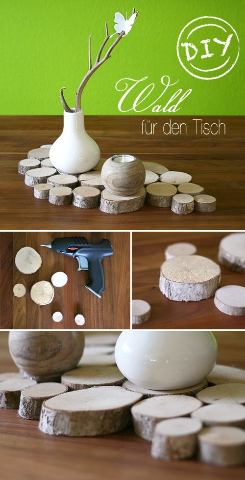 "Wald für den Tisch - tolle Idee für einen wunderschönen Untersetzer für Blumenvasen, den dampfenden Topf mit Essen und selbst ohne alles noch sehenswert!  Great idea for a ""Forest on your table""! Isn't this nice and adorable?"
