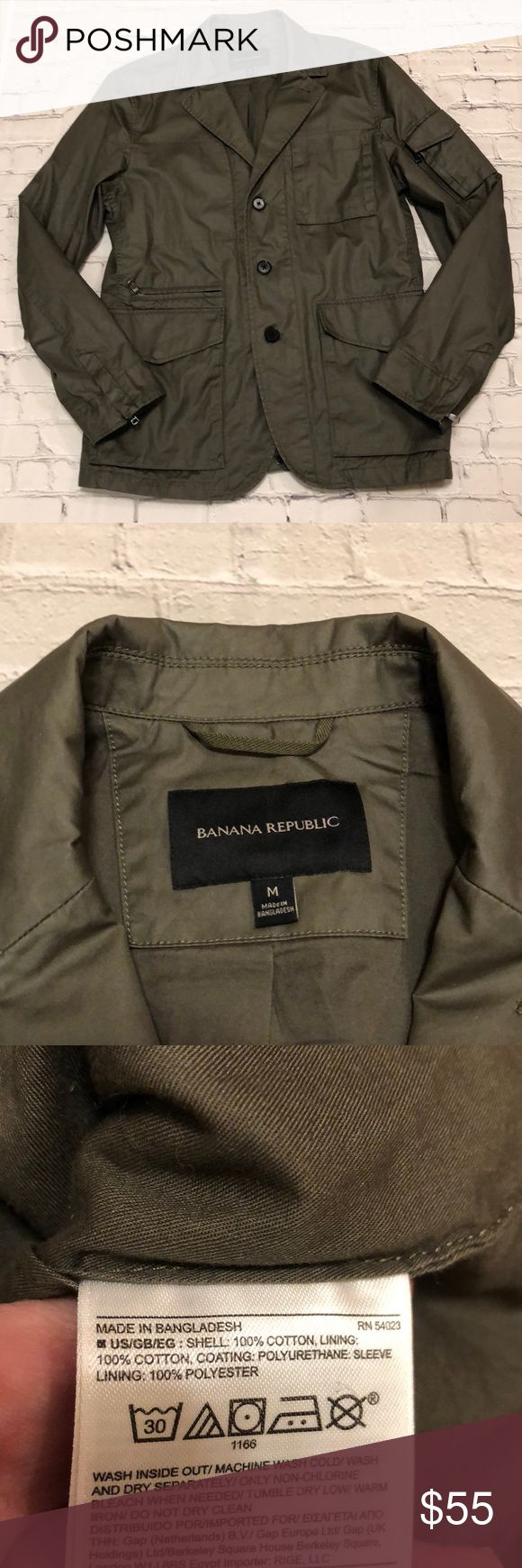 """Banana Republic Field Jacket Olive green field jacket with hidden zipper underneath button placket. Water resistant coated cotton exterior with lining. Multiple pockets. 21"""" across chest. 28"""" length. Banana Republic Jackets & Coats Military & Field"""
