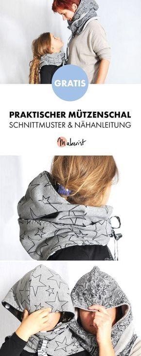 Gratis Anleitung: Mützenschal einfach nähen – Schnittmuster und Nähanleitung …