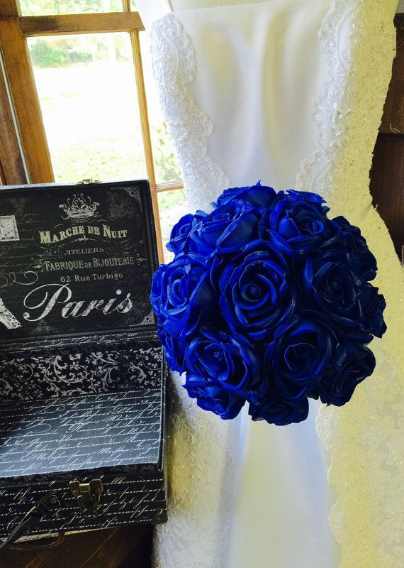 Real Touch Royal Blue Rose Wedding Bouquet  by SilkFlowersByJean
