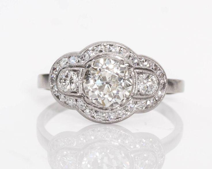 Circa 1920s Deco Era GIA-Certified 1.59cttw Old European & Single Cut Diamond Palladium Engagement Ring, ATL #705 by VermaEstateJewels on Etsy https://www.etsy.com/listing/514410058/circa-1920s-deco-era-gia-certified