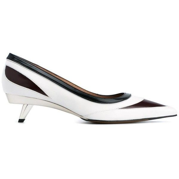 Marni Marni Panelled Pumps ($615) ❤ liked on Polyvore featuring shoes, pumps, white, white pumps, marni shoes, mid heel pumps, mid-heel shoes and white mid heel shoes