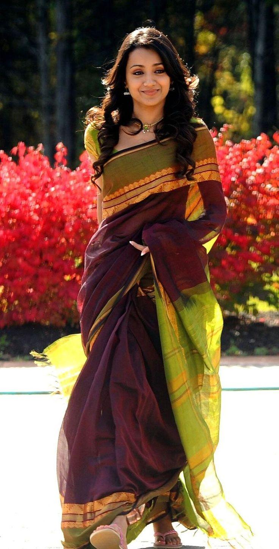 South Actress Trisha wearing a Handloom Saree