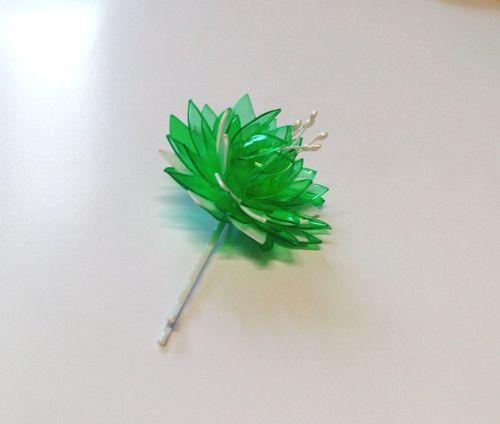 Sponka do vlasů - PET art zeleno bílá