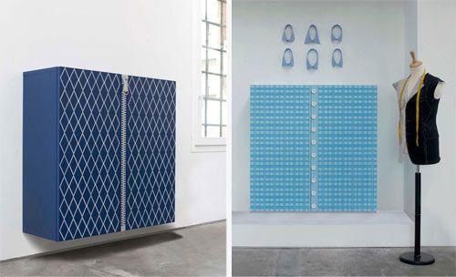 """""""Atelier Collection"""" by Capo d'Opera:  ironici contenitori pensili che sembrano abiti, un omaggio alla sartoria in cinque tessuti diversi."""