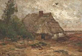 Sientje Mesdag-van Houten (1834-1909) Schaapskooi op de heide l.o. get. in initialen paneel, 24x35 cm