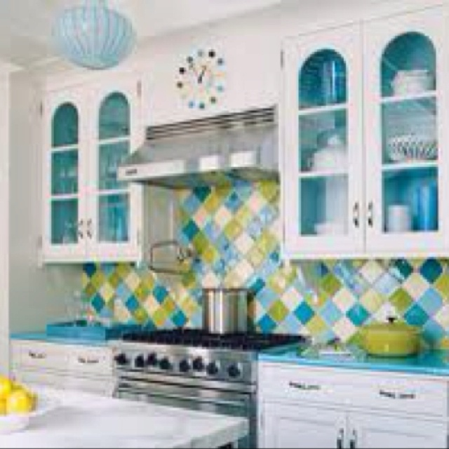 Aqua Blue And Lime Green Kitchen For My Dream Home