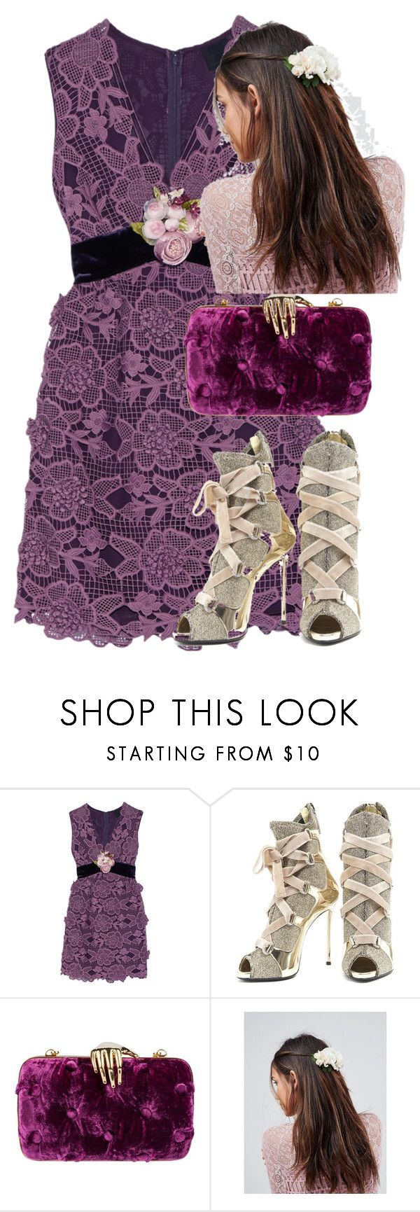 """late night talk show look"" by purplicious ❤ liked on Polyvore featuring Anna Sui, Giuseppe Zanotti, Benedetta Bruzziches and ASOS"