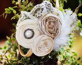 Flower Girl Headband, Vintage Headband, Champagne Headband Bridesmaids Headband Flower girl Headband Feather and lace headband. $24.50, via Etsy.