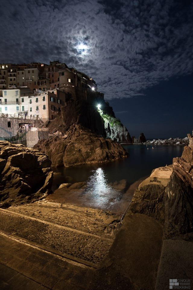 Clouds and moon in Manarola