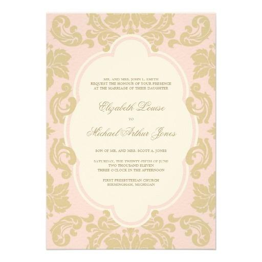 Wedding Invitations   Old Hollywood Glamour Design in light rose pink and champagne gold #pink #gold #damask #vintage #glam #wedding #invites