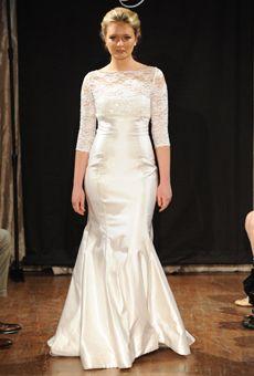 Absolutely beautifully modest 3/4 sleeve wedding dress: Sarah Jassir lace wedding dress