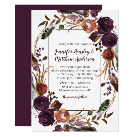 #2Butter Rum Rust Dark Purple Roses Wreath Wedding Invitation | Zazzle.com