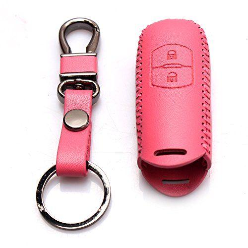 Genuine Leather Car Remote Key Holder Case Cover For Mazda 2/Mazda 3/Mazda 6/Mazda CX-7/Mazda CX-9 2-Button Pink