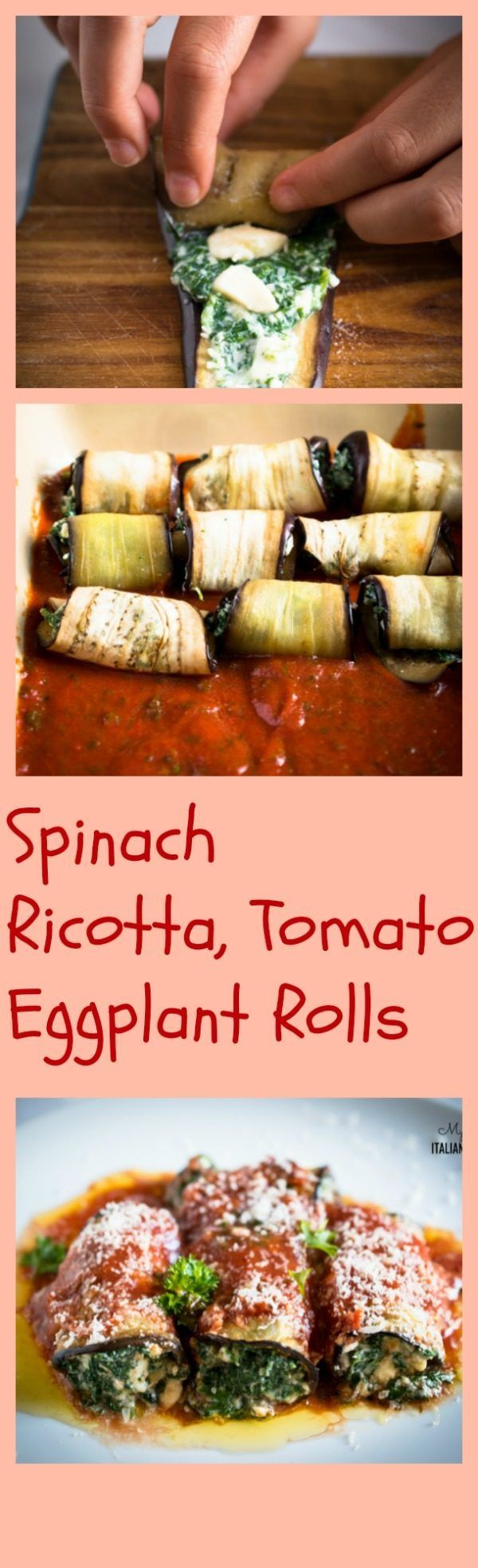 Spinach, ricotta, tomato eggplant rolls Ingredients eggplant ­ 2 large fresh spinach ­ 600 g ­ 2 cups ricotta cheese ­ 250 g ­just over 1/2 cup chopped parsley ­ 1 tbsp mozzarella cheese ­ 125 g ­just over 1 cup tomato sauce ­ 300 ml ­ 10 fluid oz parmesan cheese grated ­ 60 g ­5/8 cup garlic ­ 1 clove olive oil salt and pepper
