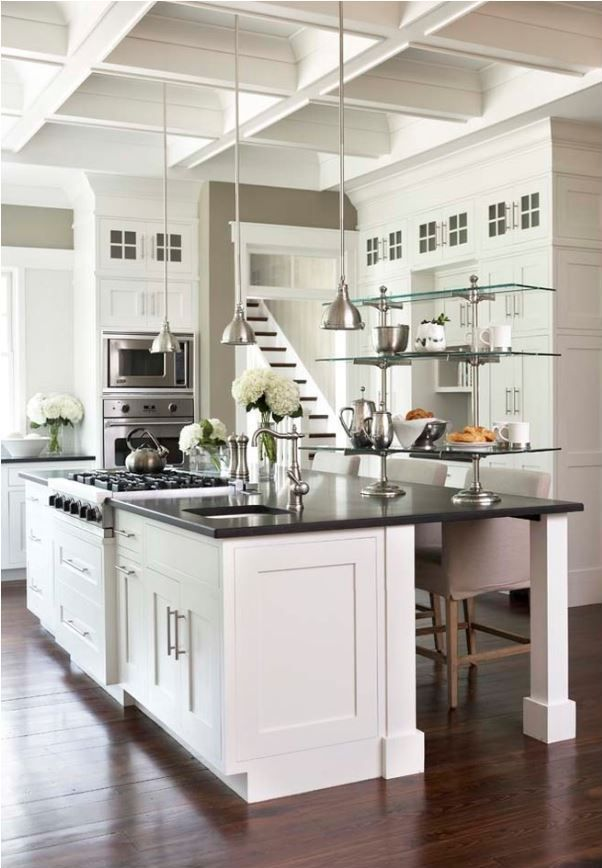 black-countertops-white-kitchen. Good grief, I love everything about this.