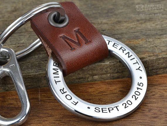 En cuir personnalisée trousseau - Mens personnalisé cuir et acier inoxydable porte-clé - main ouvrée à USA - pères jour porte-clés