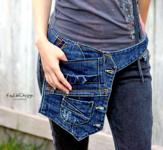 Denim belt pocket