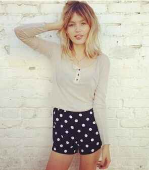 Blonde ombre with bangs. I have these same exact shorts.