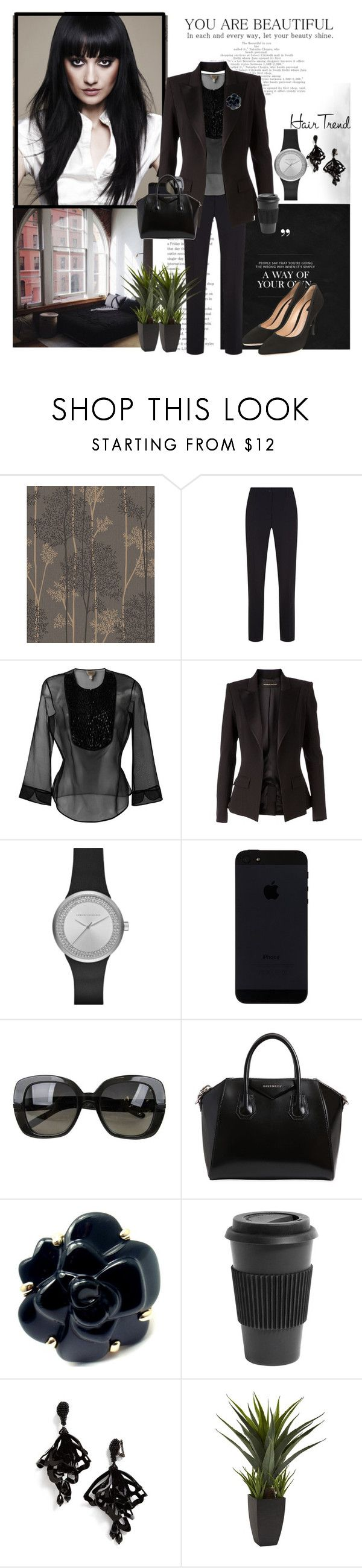 """Matchy-match hair trend"" by krystalkm-7 ❤ liked on Polyvore featuring Graham & Brown, Balmain, Armani Collezioni, Alexandre Vauthier, Armani Exchange, Bottega Veneta, Givenchy, Chanel, Homage and Oscar de la Renta"