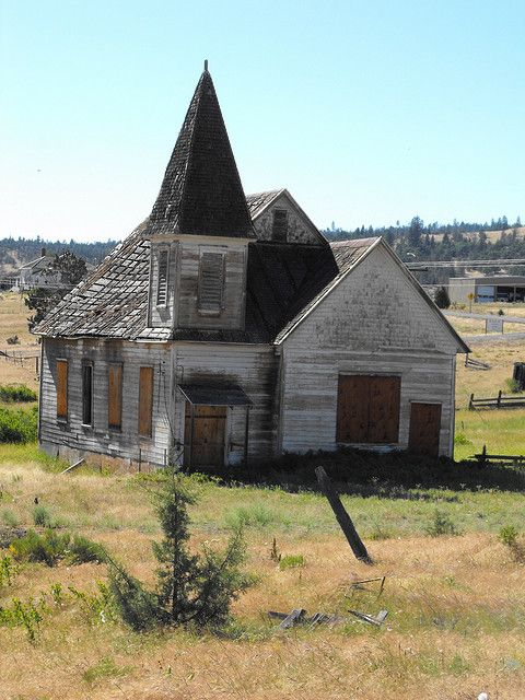 Abandoned church in Simnasho, Oregon.