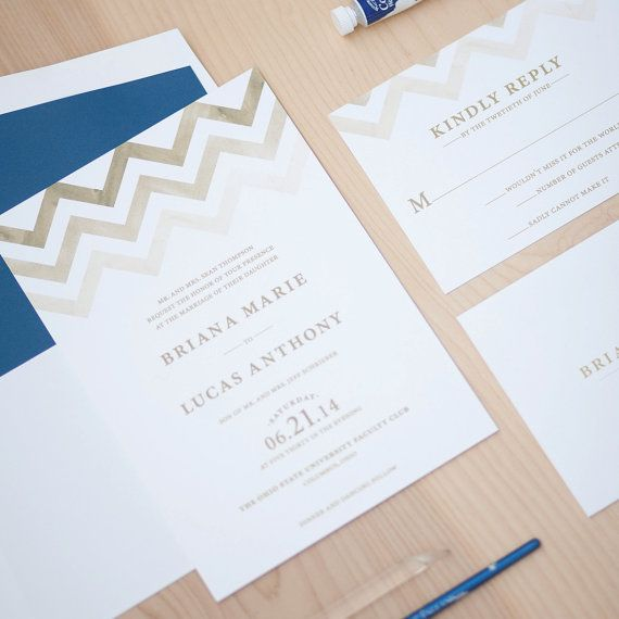Chevron Wedding Invitation Contemporary by JenSimpsonDesign