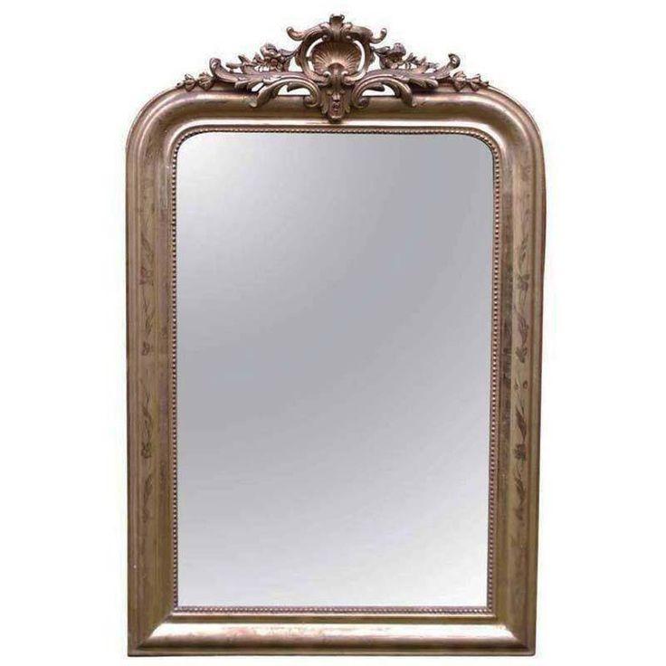 Barokke spiegel met bladgoud verguld. Herkomst Frankrijk, circa 1880 Ref. 2645 Afm. h. 120 x b. 77 x d. 5 cm Prijs €1.750