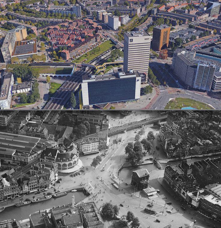1938-2016. Hofplein met Delftse Poort.  Gezien vanaf Schiekade.