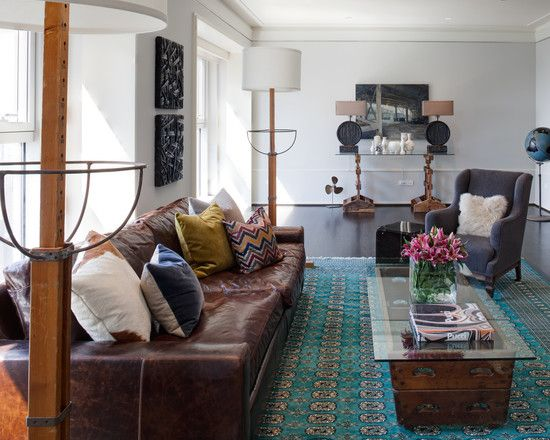 Leather with colorful accent pillows gray chair or sofa - Brown and turquoise living room rugs ...