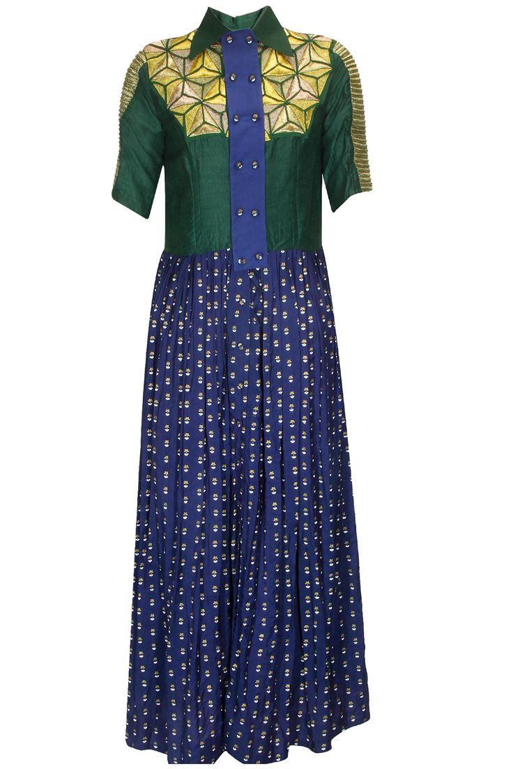 Emerald green 23D hand embroidered dress available only at Pernia's Pop Up Shop.