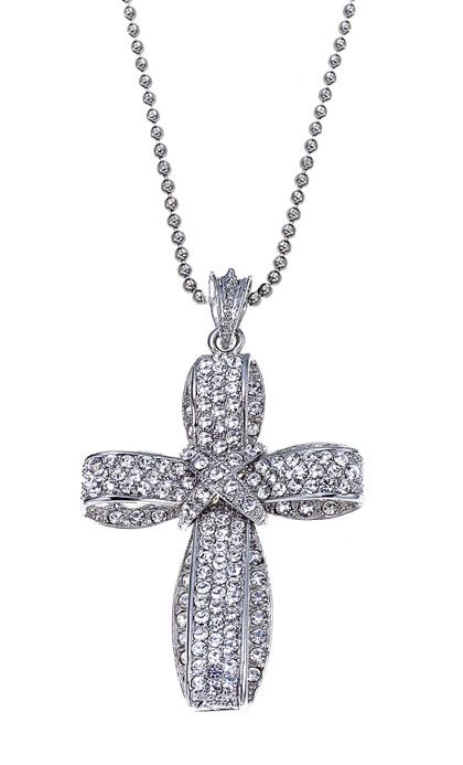 $38 Thankful Rhinestone Cross Pendant and necklace by Traci Lynn Fashion Jewelry. Available at www.tracilynnjewelry.net/fedavis