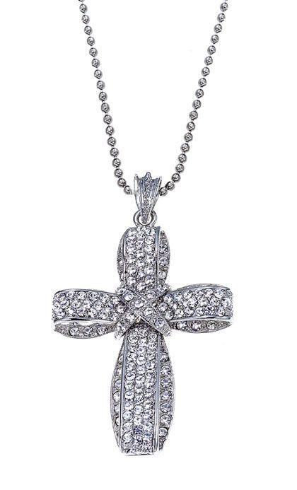 $38 Thankful Rhinestone Cross Pendant and necklace by Traci Lynn Fashion Jewelry.  www.tracilynnjewelry.net/natashuagreen