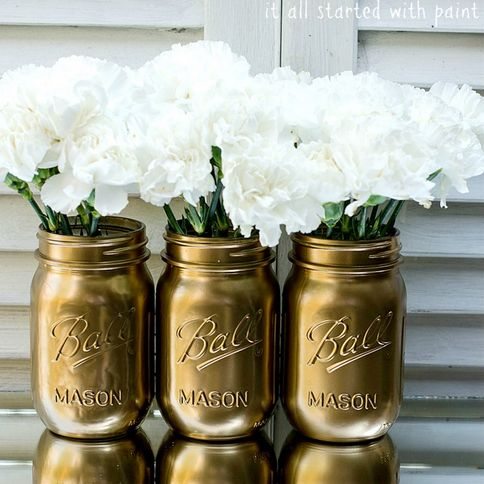 mason jars with spray paint diy recycle pinterest jars. Black Bedroom Furniture Sets. Home Design Ideas