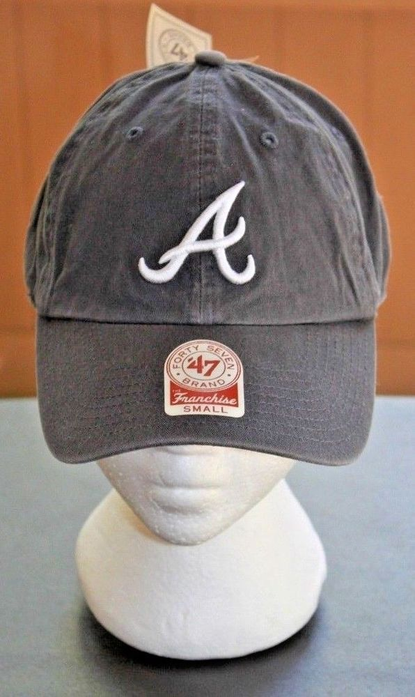 812b915af8e4c ... best price atlanta braves size small a 47 brand mlb fitted dad cap hat  gray white