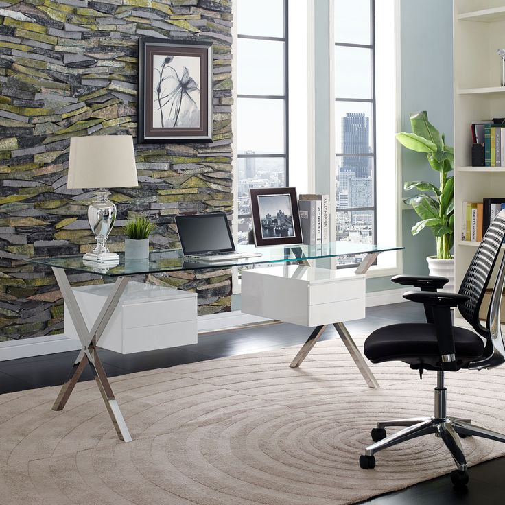 - Info - Features - Dimensions Keep your thoughts flowing with the Robert modern office desk. Suspended by a polished stainless steel frame, the right and left storage drawers balance an otherwise tra