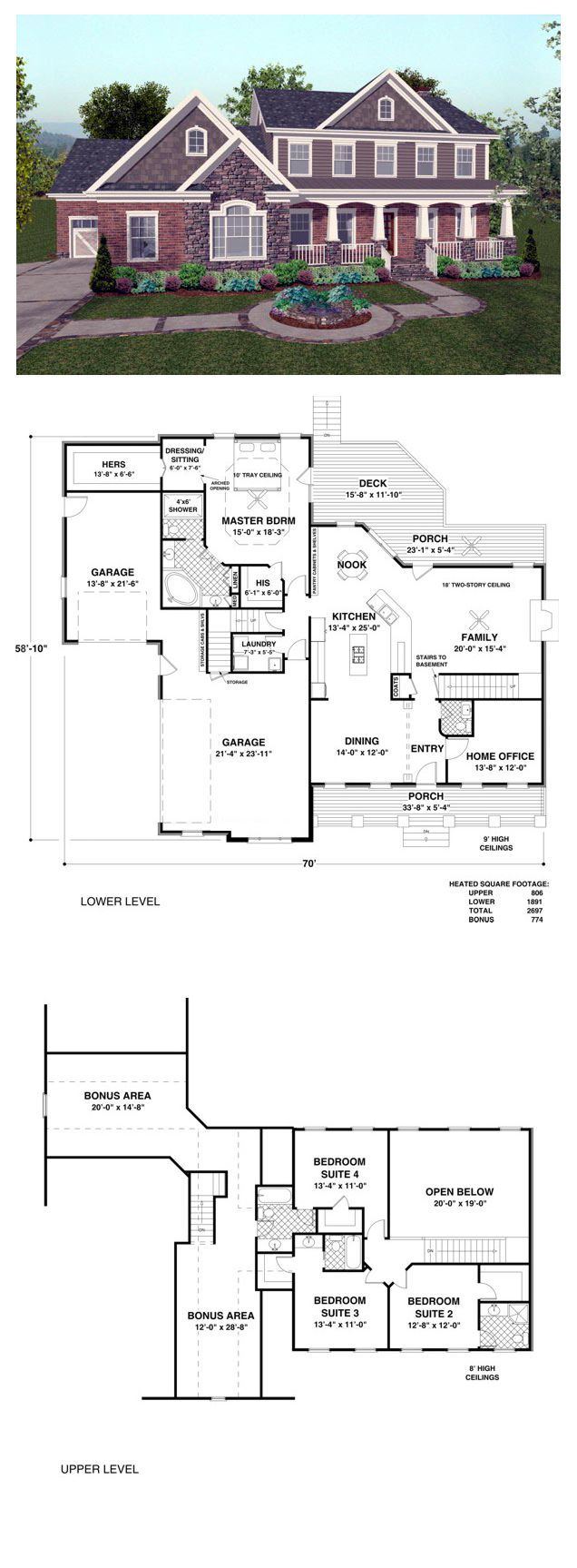 Country Style COOL House Plan ID: chp-44496   This charming 2,697 sq. ft. Old World home features a split 3-car garage, a spacious front porch and a brick, stone and siding exterior with shake accents. countryhouseplan houseplan