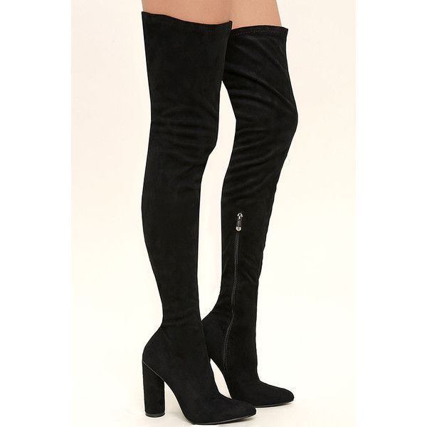 Callisto Black Suede Thigh High Boots ($63) ❤ liked on Polyvore featuring shoes, boots, black thigh high boots, black over the knee boots, stretch over the knee boots, stretch suede over the knee boots and stretch thigh high boots