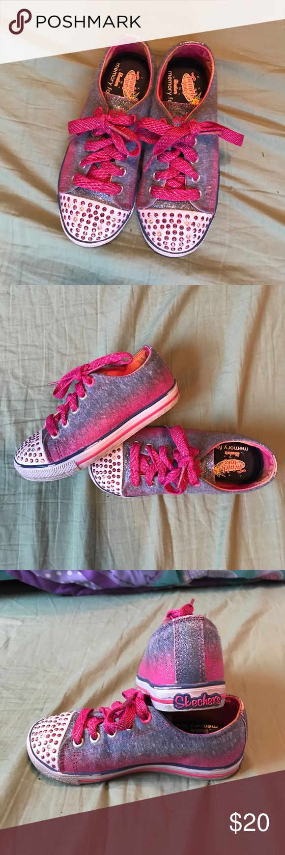 Girls Skechers twinkle toes Hardly worn girls ombré blue to pink skechers twinkle toes. They were rarely worn by my daughter. They both still light up perfect and are in very good condition. They have memory foam insoles for comfort. Skechers Shoes Sneakers
