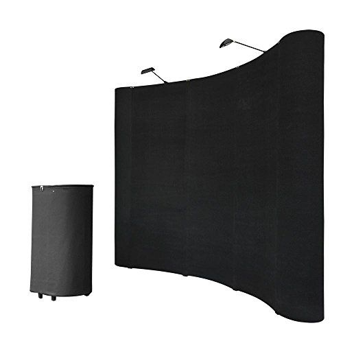 8FT Black Pop Up Trade Show Display Booth Floor Presentation Kit Trolley Case Presentation Board Spotlights  This  8'x 8′ Black Curved Pop Up Trade Show Display Booth  provides sufficient space for you to present signage and literature. It makes a customizable solution for trade shows, conventions, and other promotional events.     Specifications:    Color: Black    Fabric Panel for Center: 90-1/2″ H x 27-1/2″ W    Fabric Panel for Side: 90-1/2″ H x 26-3/8″ W    Magnetic Bar: 27-1/2″..